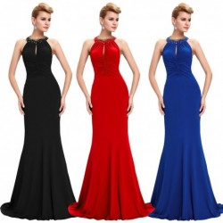 Sequined Pleated Neckline Floor Length Evening Gown (3 Colors)