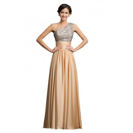 Sequined One Shoulder Chiffon Floor Length Evening Gown