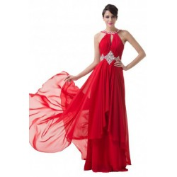 Embellished Layered Floor Length Chiffon Red Evening Gown