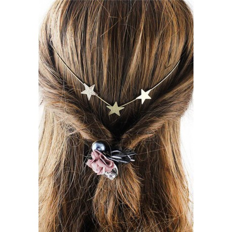 Graceful Solid Color Gold Plated Star Charm Hairband