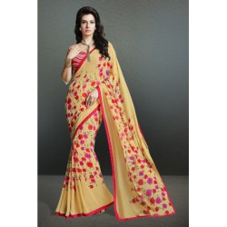 Pleasing Beige Color Party Wear Printed Georgette Saree