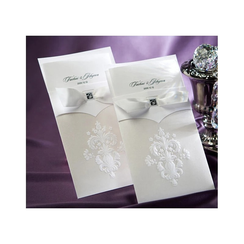 Wedding Invitation Cards With Pictures: Elegant Ribbon Wedding Invitation Card