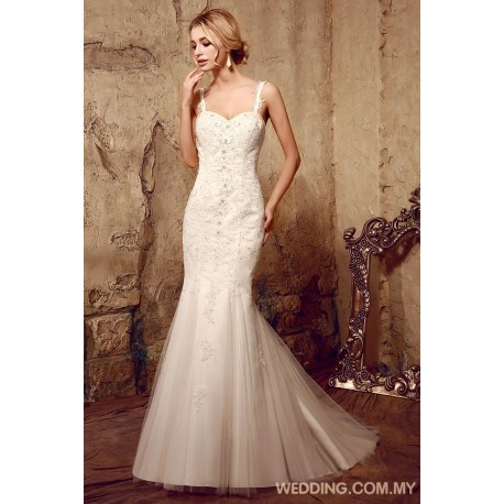 Mermaid Tulle Wedding Dress With Shoulder Straps