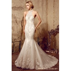 Chantilly Lace Gown Decorated With Lace Appliques And Scalloped Hemline