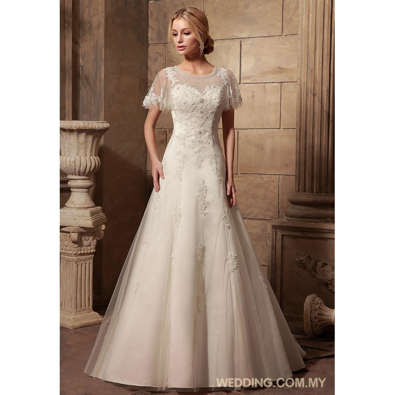 Modest tulle bridal gown with cap sleeves wedding gowns for Tulle wedding dress with sleeves