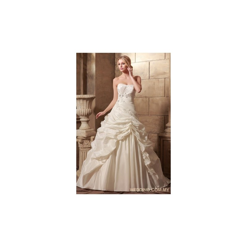 Ball gown taffeta wedding gown with pick up skirt for Pick up wedding dress