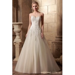 Classic Strapless Wedding Gown With Appliques On Tulle