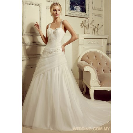 Simple A-line Soft Tulle Wedding Dress With Straps