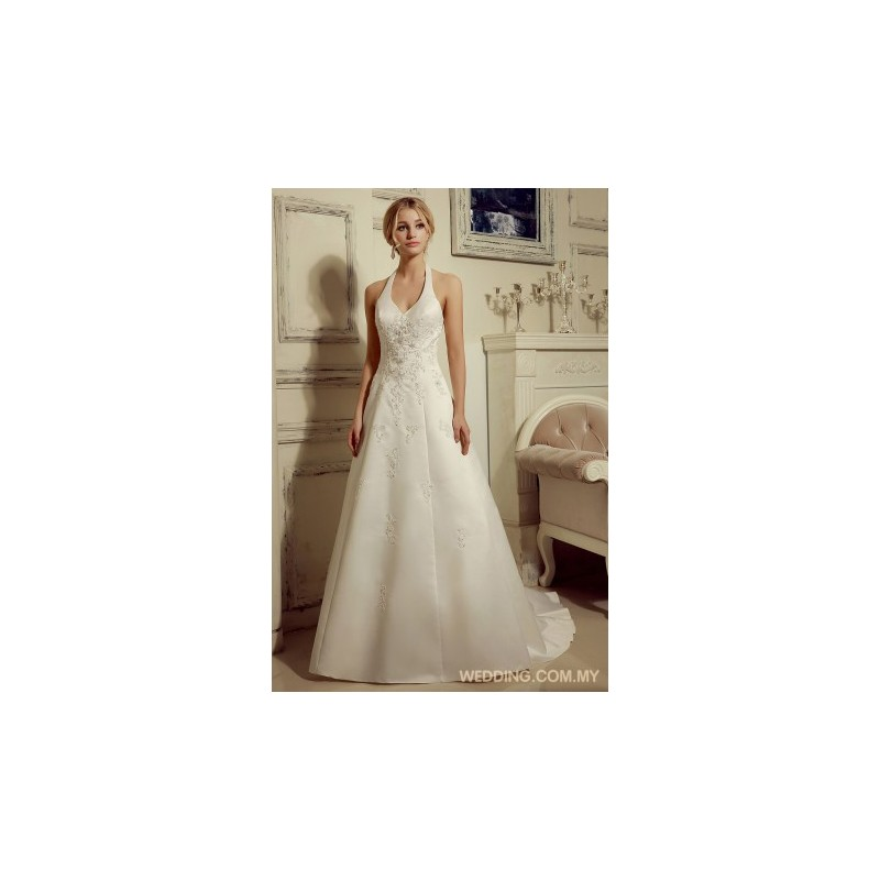 vintage halter beaded satin wedding dress wedding gowns