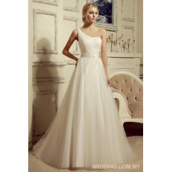 One Shoulder Tulle Wedding Gown With Beaded Belt