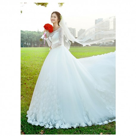 2016 new spring & summer korean style lace long-sleeve wedding dress