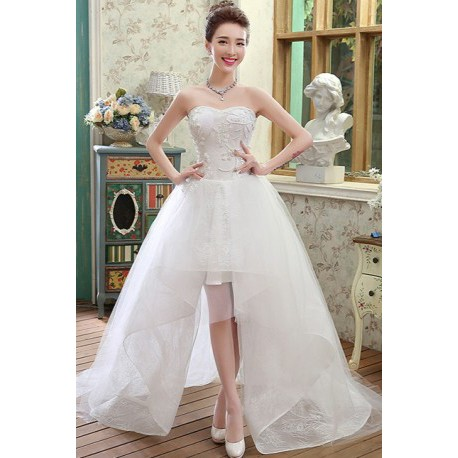 2016 new spring & summer korean style short long wedding dress