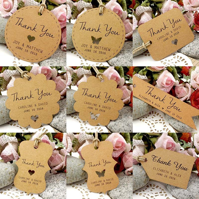 Personalized Brown Kraft Wedding Favor / Thank You / Gift