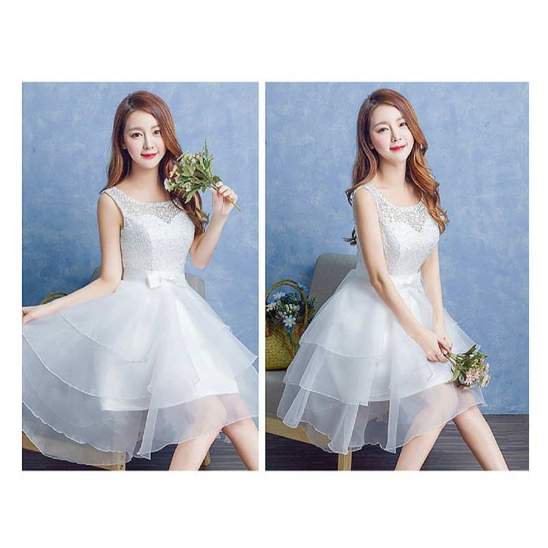 2017 New Summer Korean Style Tier Short Bridesmaid Dress | Fashion