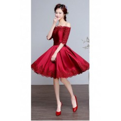 2017 New Wine Red Lace Off-shoulder Knee-length Bridesmaid Dress