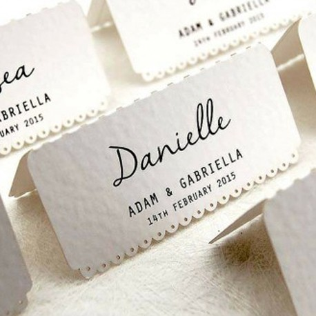 Personalized White Vintage Lace Wedding Place Cards