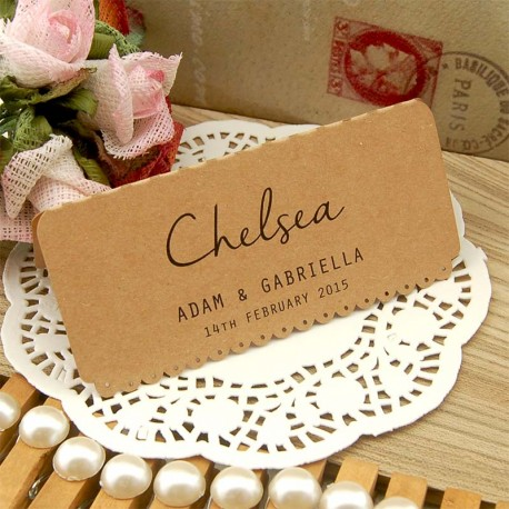 Personalized Kraft Vintage Lace Wedding Place Card