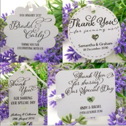 Personalized White Wedding Favor Gift Tags with Thread ( Set B - 4 Designs )