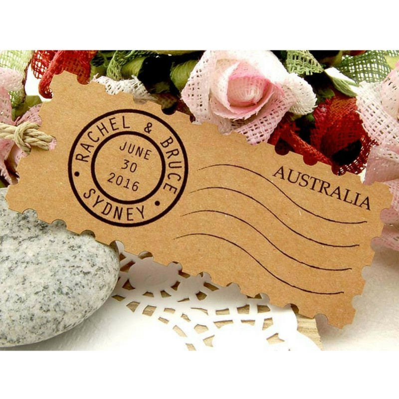 Personalized Kraft Postage Stamp Wedding Favor Gift Tags Malaysia