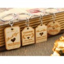 Personalized Engraved Natural Wooden Wedding Favor Key Chains (4 Designs)