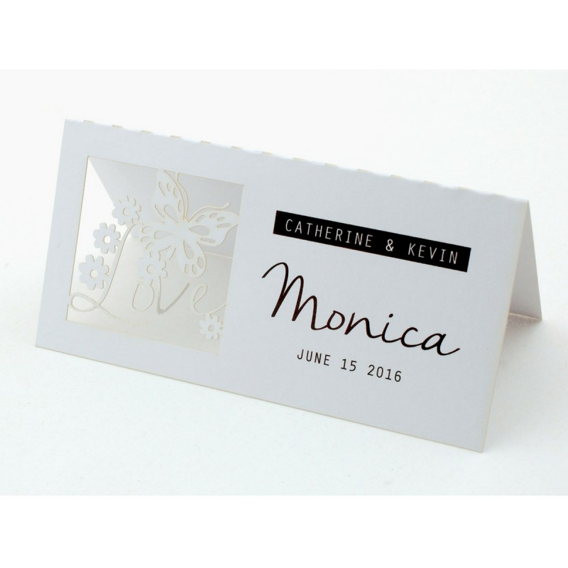 Personalized laser cut white wedding place cards love is for Personalized wedding place cards