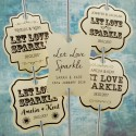 Personalized Let Love Sparkle Cream Wedding Sparkler Tags (Set B - 4 Designs)