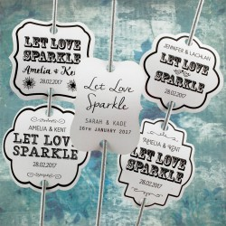 Personalized Let Love Sparkle White Wedding Sparkler Tags (Set A - 4 Designs)