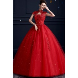 2017 New Summer Korean Style Off Shoulder Sequinns Wedding Dress