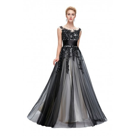 Embroidered Sleeveless Tulle Dark Grey Evening Gown