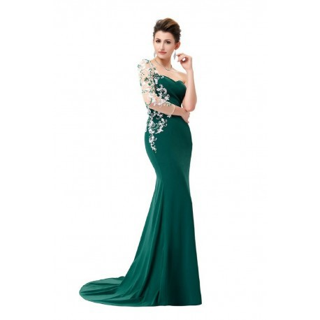 Elegant Embroidered Asymmetrical Sleeve Dark Green Evening Dress