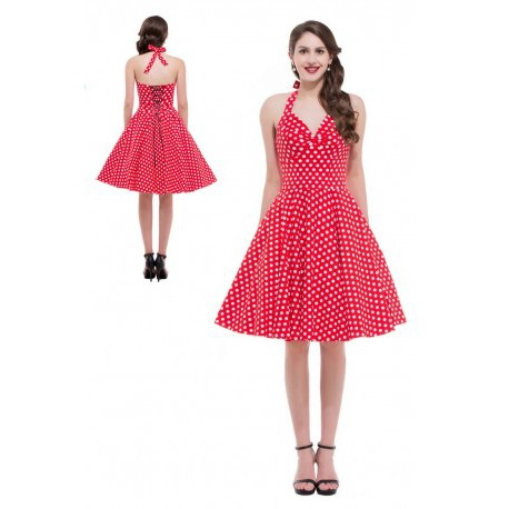 Retro Polka Dots Halter Knee Length Cocktail Dress (7 Colors)