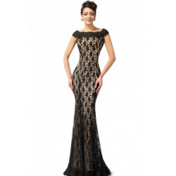 Lace Mermaid Embroidered Black & Gold Evening Dress
