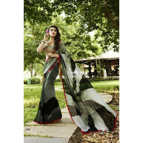 Floral Print Georgette Silk Saree - Grey & Black