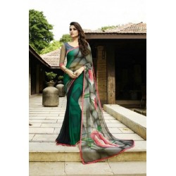 Floral Print Georgette Silk Saree - Green