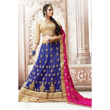 347b5d5f87 Navy Blue Net Circular Style Designer Lehenga Choli | Wedding Saree