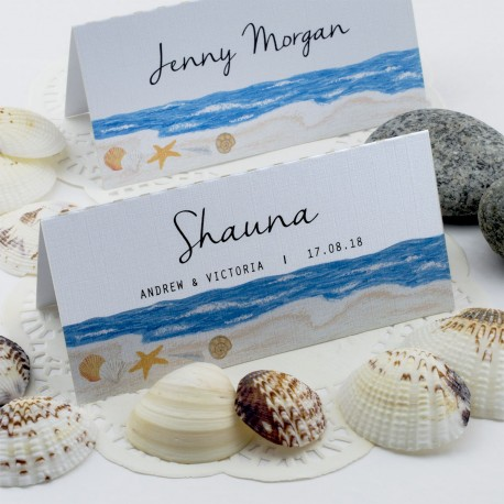 Personalized Beach Themed Shells by the Sea Wedding Place Cards
