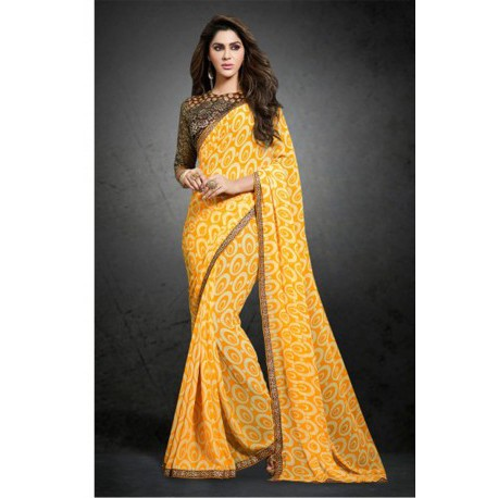 Yellow Printed Party Wear Bemberg Georgette Saree