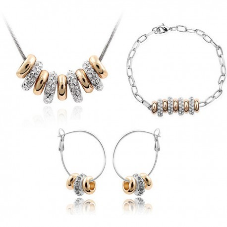 Crystal & Rose Gold Plated Charms Jewelry Set