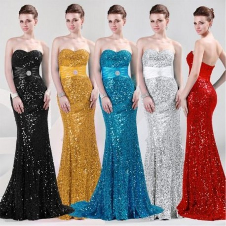 Glamour Sweetheart Sequined Floor Length Evening Gown (5 Colors)