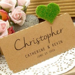 DIY Personalized Kraft Love in the Garden Wedding Place Cards (Single Heart)