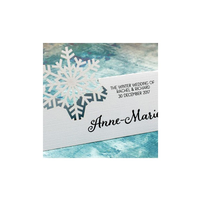 Personalized snowflake winter wedding place card gifts for Personalized wedding place cards