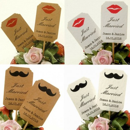 DIY Personalized Lips & Mustache Kraft / White Cupcake Toppers (Just Married)