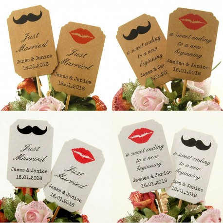 DIY Personalized Lips & Mustache Kraft / White Cupcake Toppers (Mixed Set)