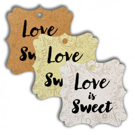 Elegant Square Love is Sweet Gift Tags (3 Colors)