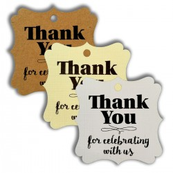 Elegant Square Thank You for Celebrating with Us Gift Tags (3 Colors)