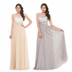 Sheer Beaded Chiffon Floor Length Evening Gown (4 Colors)