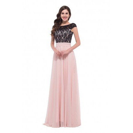 Sweet Chiffon Lace Cap Sleeves Light Pink Evening Gown