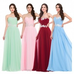 Sweetheart Sequined Chiffon Floorlength Evening Gown (5 Colors)