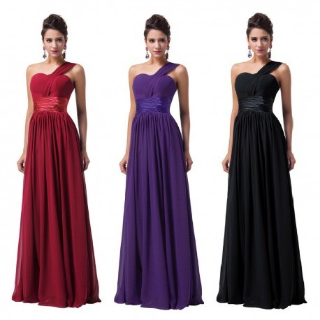 Chiffon One Shoulder Sweetheart Evening Gown (5 Colors)