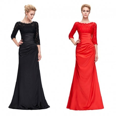 Elegant Pleated Long Sleeved Lace Evening Dress (2 Colors)